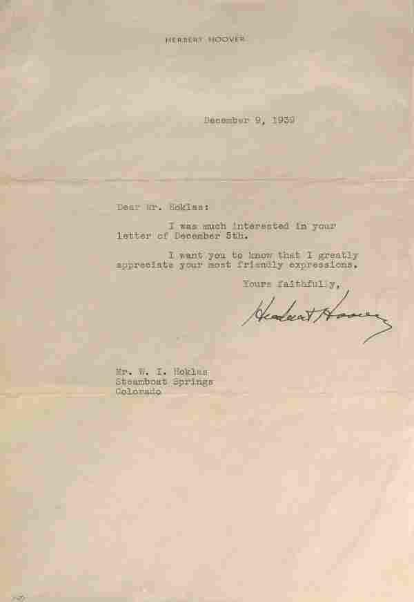 Pres HERBERT HOOVER - 1939 Typed Ltr Signed