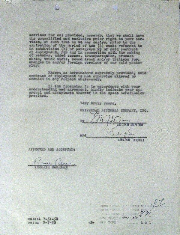 134: Pres RONALD REAGAN - Movie Contract Signed