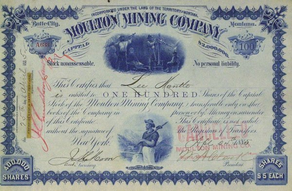 630: Copper Baron WM ANDREWS CLARK- Stock Cert Signed