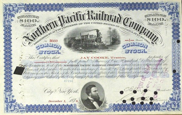 631: Financier JAY COOKE - StockCertificate Signed