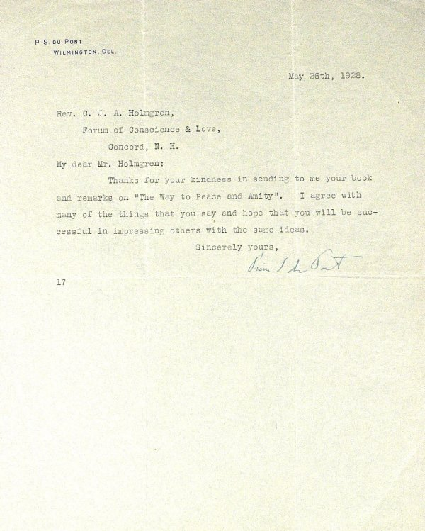 636: Businessman PIERRE duPONT - Typed Ltr Signed