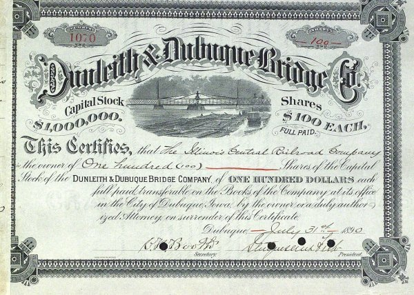 639: Railroads STRUYVESANT FISH - Stock Cert Signed