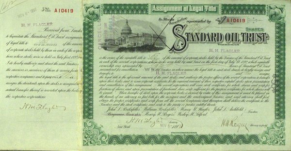 640: Oil Man HENRY FLAGLER - Standard Oil Stock Signed