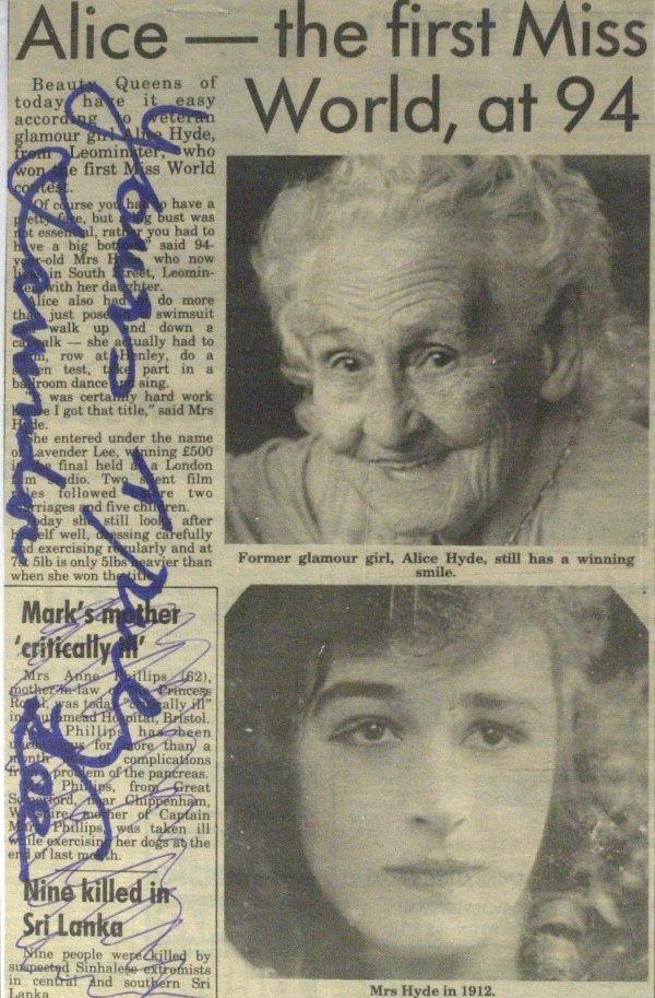 707: 1st Miss World 1911 ALICE HYDE - Newsphoto Signed