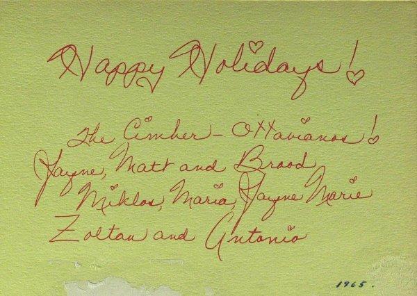 815: Sexy Actress JAYNE MANSFIELD - Xmas Card Signed - 2