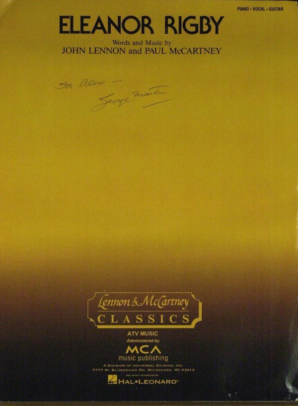 886: GEORGE MARTIN - Eleanor Rigby Sheet Music Signed
