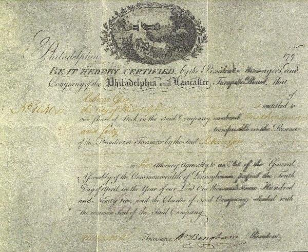 2: Statesman William Bingham - Stock Certificate
