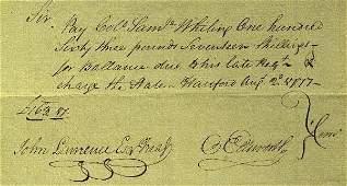 7: Oliver Ellsworth - Pay Order August 1777
