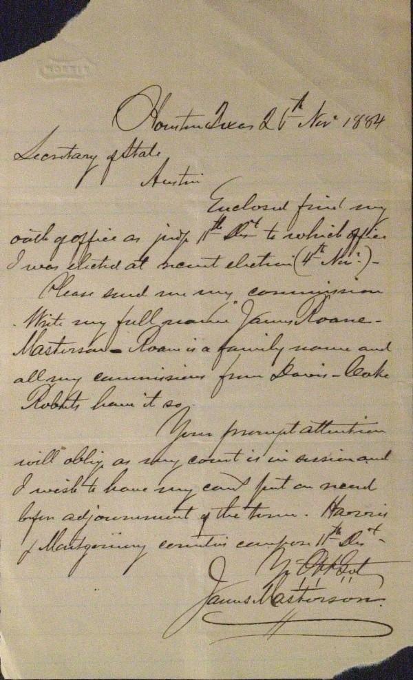 18: Lawman James Masterson - Autograph Letter