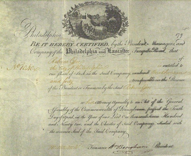 390: Statesman WILLIAM BINGHAM - Stock Cert Signed