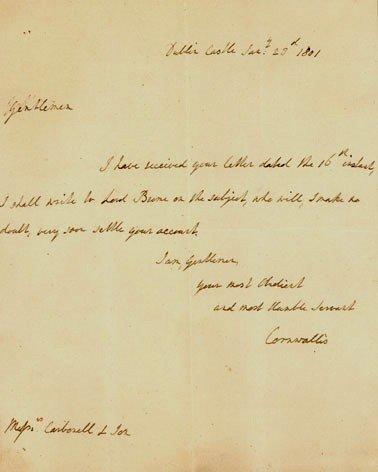 396: British Gen CHARLES CORNWALLIS- Auto Ltr Signed
