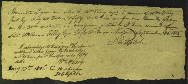 398: RI Signor WILLIAM ELLERY - Document Signed