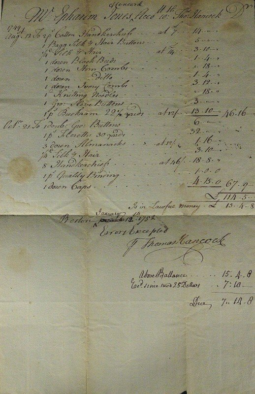 402: Colonial Merchant THOMAS HANCOCK - Doc Signed