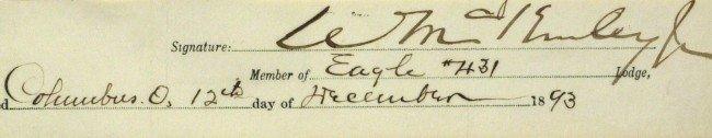 446: President WILLIAM McKINLEY - Matted Signature