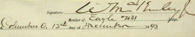 446: President WILLIAM McKINLEY - Matted Signature