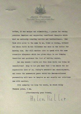 Author HELEN KELLER - Poignant Letter Signed