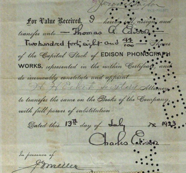 576: THOMAS & CHARLES EDISON - Stock Cert Signed