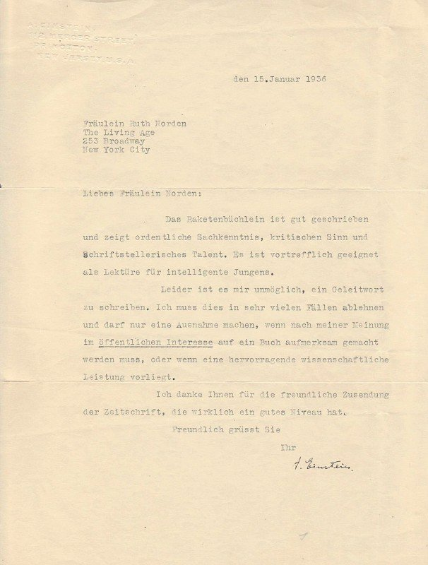 579: ALBERT EINSTEIN - Typed Ltr Signed Jan 1936