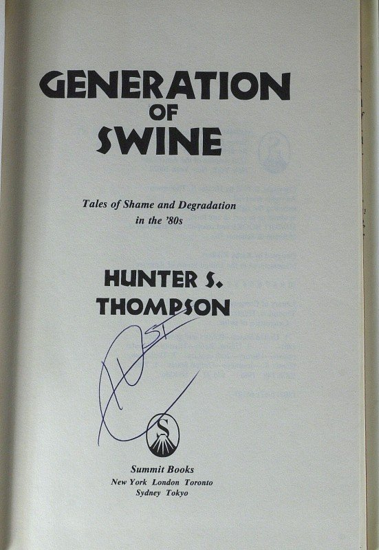635: HUNTER THOMPSON - His Book Signed 1st Ed