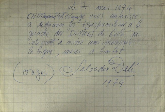 639: Spanish Painter SALVADOR DALI - Autograph Ltr