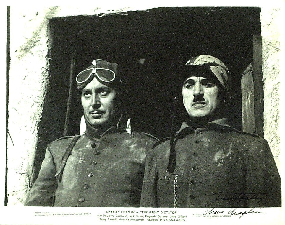 50: CHARLIE CHAPLIN - Great Dictator Photo Signed