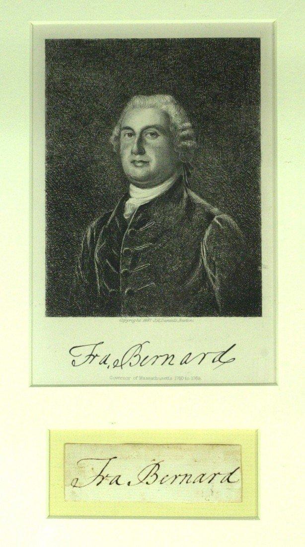 1: Colonial Gov FRANCIS BERNARD - Framed Signature