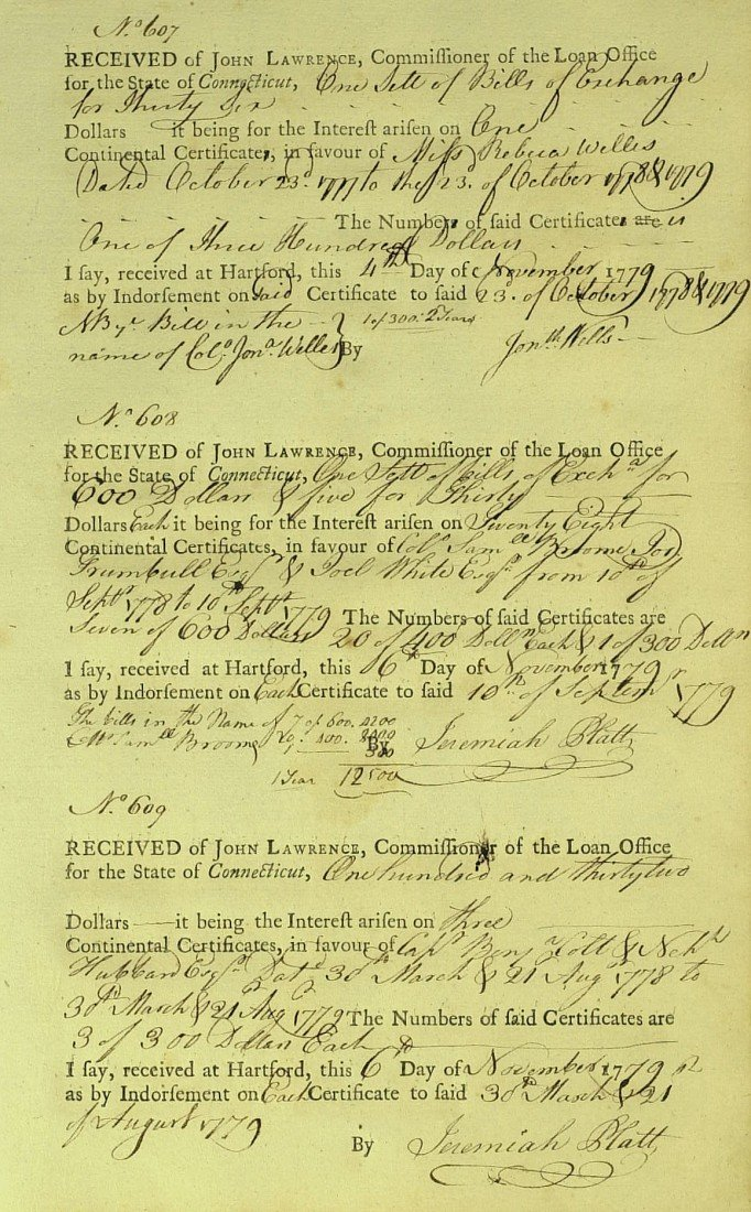 3: 1779 CONNECTICUT DOC - Signed Three Times