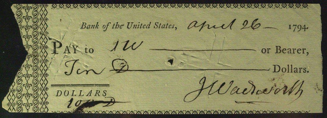 16: Rev War Figure JERIMIAH WADSWORTH - Check Signed