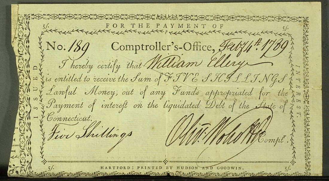20: OLIVER WOLCOTT - Pay Order Signed to Wm Ellery