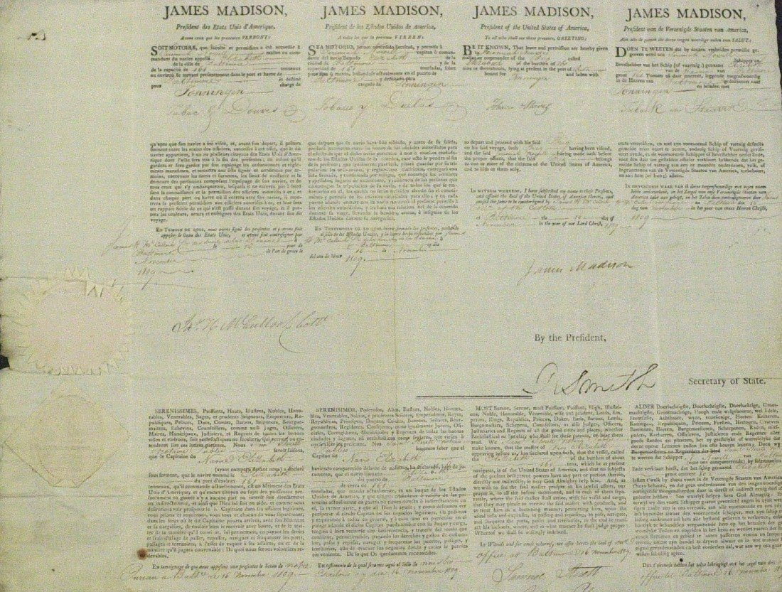 22: President JAMES MADISON - Ships Paper Signed