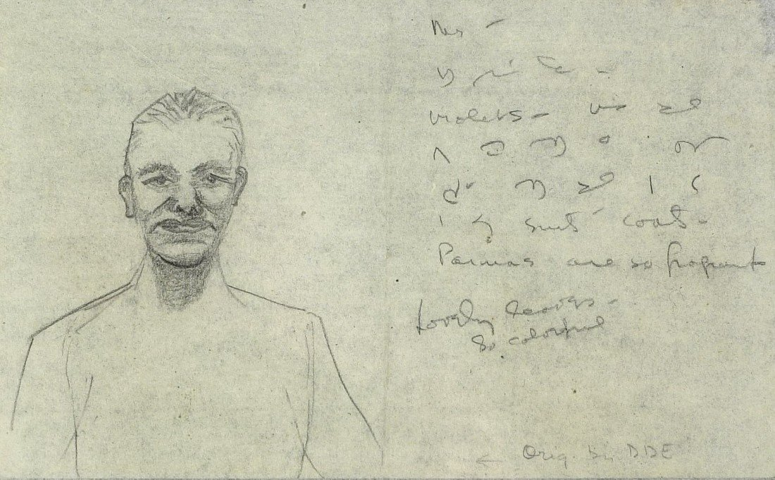 87: (DWIGHT EISENHOWER) - Self Portrait Sketch RARE