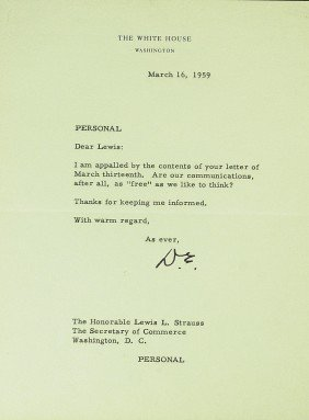 "DWIGHT D EISENHOWER - WH Ltr ""PERSONAL"""