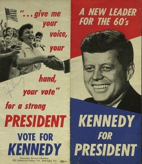 JOHN F KENNEDY - 1960 Campaign Flyer Signed