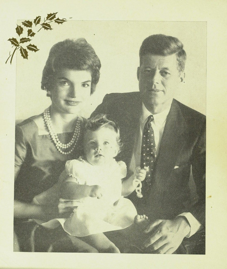 99: JFK and JACKIE - Unsigned 1958 Xmas Card