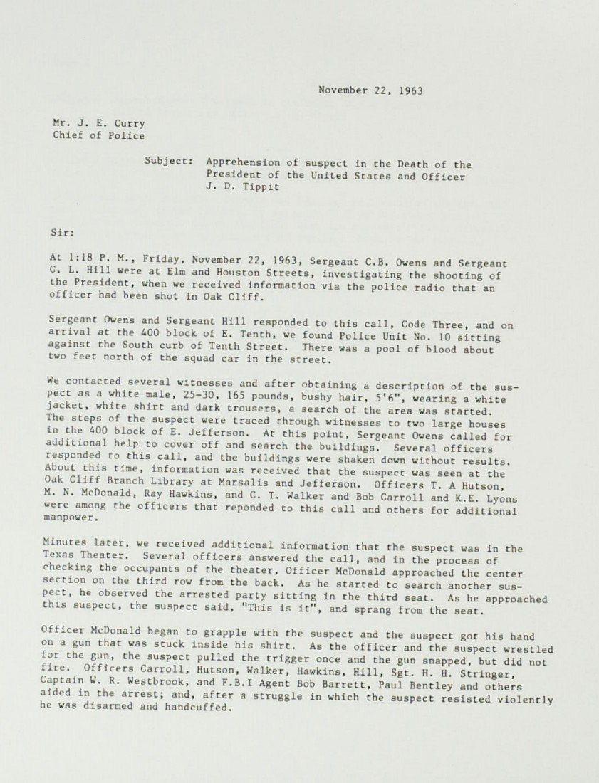 101: JFK ASSASSINATION - Police Report 4 Arresting Offi