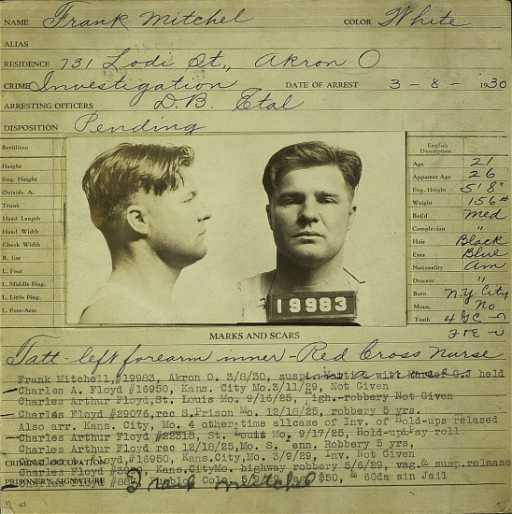 261 Pretty Boy Floyd Original Arrest Card Signed