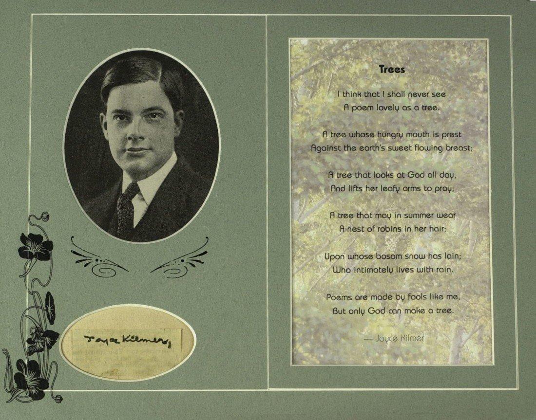 287: Trees Poet JOYCE KILMER - Matted Signature