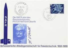 489 HERMANN OBERTH  Two Postal Cvrs Signed