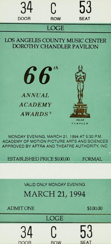 1002: 1993 ACADEMY AWARDS - Two Unused Tickets