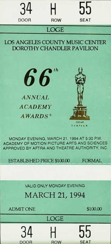 1002: 1993 ACADEMY AWARDS - Two Unused Tickets - 2