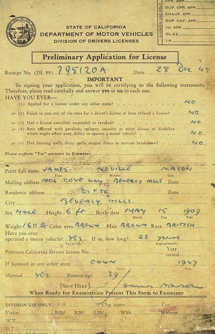 1018: WALTER PIDGEON, JAS MASON - Drivers Licences