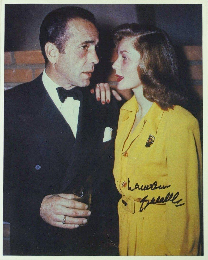 1024: Mrs Bogart LAUREN BACALL - TWO Photos Signed