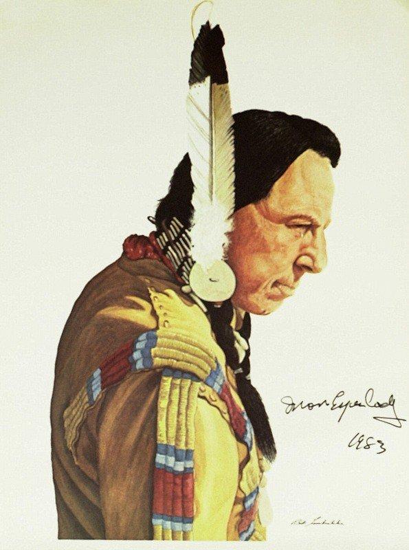 """1078: """"Native American"""" IRON EYES CODY - Photo Signed"""
