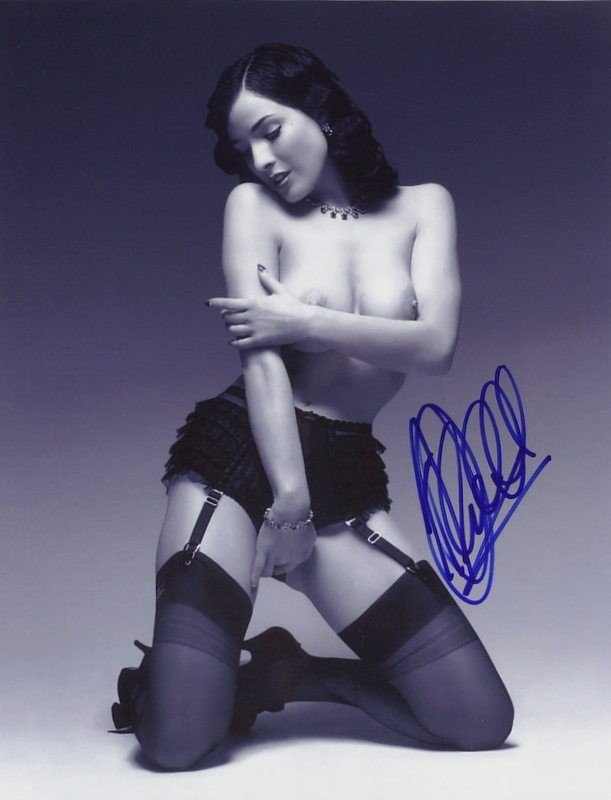 1435: DITA VON TEESE - Two B & W Nude Photos Signed