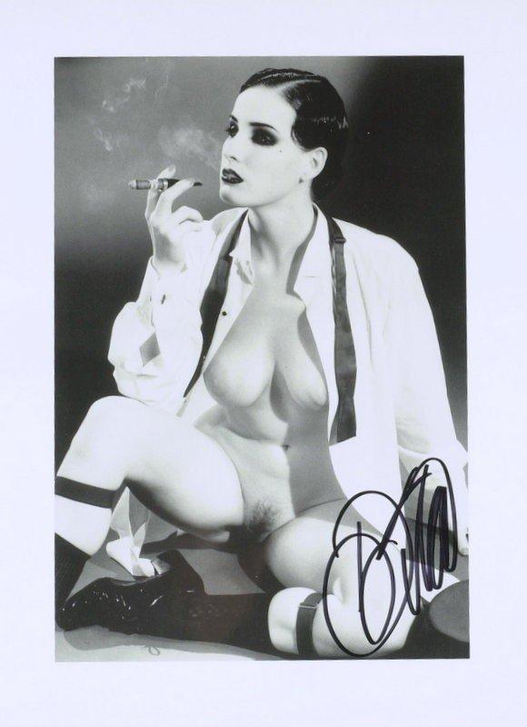 1435: DITA VON TEESE - Two B & W Nude Photos Signed - 2