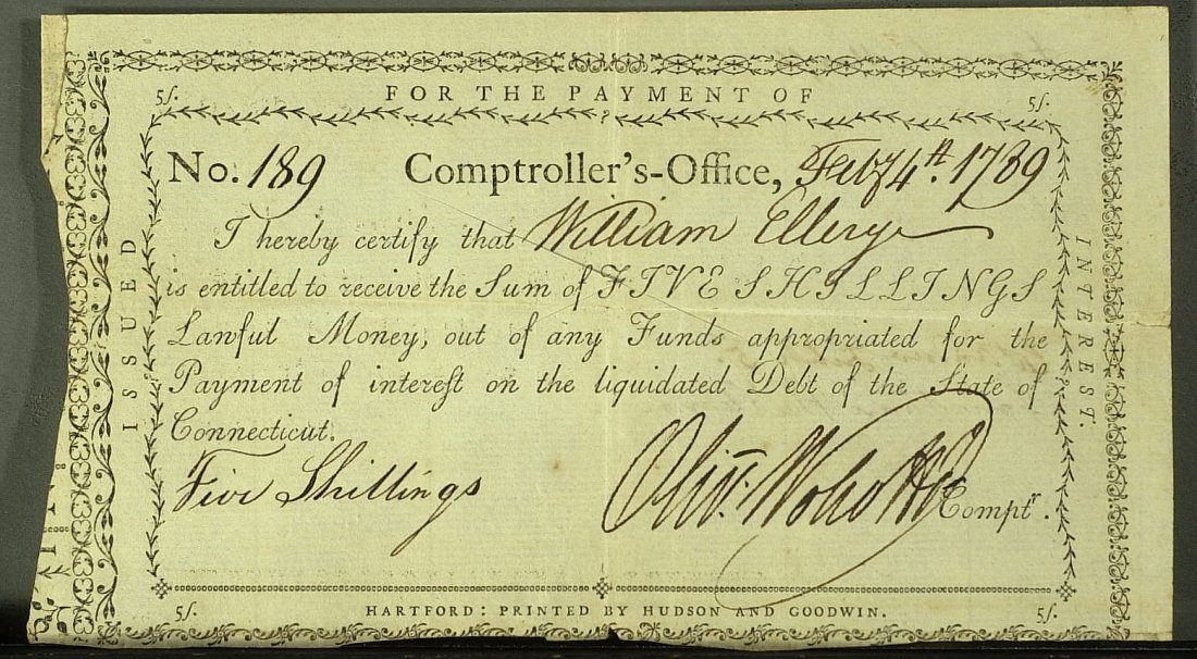 24: OLIVER WOLCOTT, JR - Payorder to Wm Ellery