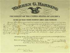 57: Pres WARREN G HARDING - Appointment Signed