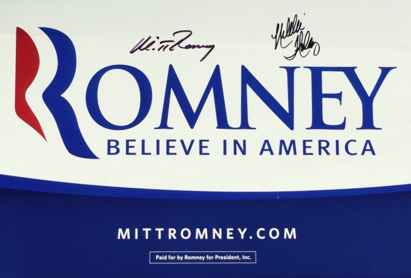 172: Politician MITT ROMNEY - Campaign Poster Signed