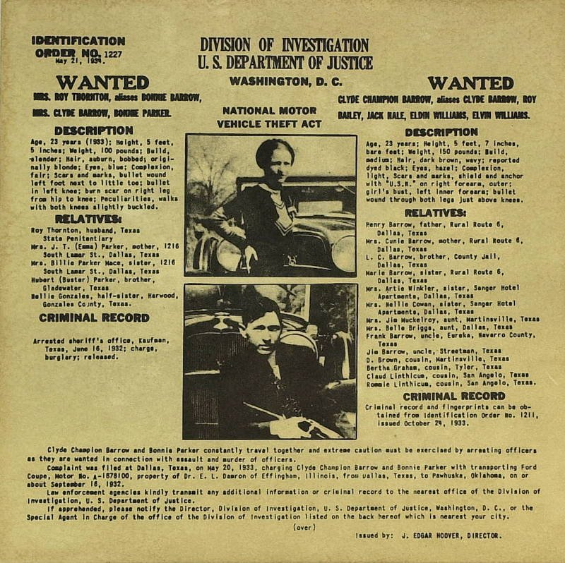 223: Bank Robbers BONNIE & CLYDE - Wanted Poster