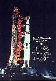 396: Apollo Astronauts - Launch Photo Signed By Four